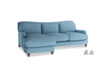 Large left hand Pavlova Chaise Sofa in Moroccan blue clever woolly fabric