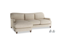Large left hand Pavlova Chaise Sofa in Flagstone clever woolly fabric