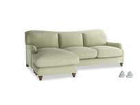Large left hand Pavlova Chaise Sofa in Old sage washed cotton linen