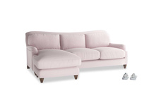 Large left hand Pavlova Chaise Sofa in Dusky blossom washed cotton linen