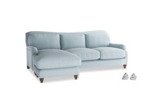 Large left hand Pavlova Chaise Sofa in Soothing blue washed cotton linen