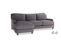 Large left hand Pavlova Chaise Sofa in Graphite grey clever cotton
