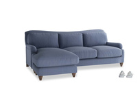 Large left hand Pavlova Chaise Sofa in Breton blue clever cotton