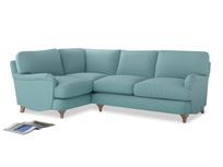 Large Left Hand Jonesy Corner Sofa in Adriatic washed cotton linen
