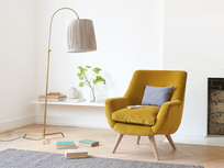 Berlin retro luxury armchair styled in sitting room
