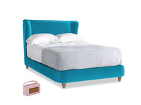 Double Hugger Bed in Azure plush velvet