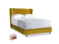 Double Hugger Bed in Burnt yellow vintage velvet