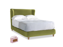 Double Hugger Bed in Olive plush velvet