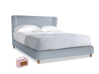 Kingsize Hugger Bed in Frost clever woolly fabric