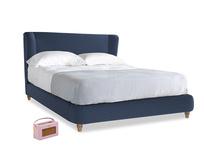Kingsize Hugger Bed in Navy blue brushed cotton