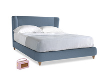 Kingsize Hugger Bed in Nordic blue brushed cotton