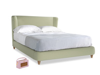 Kingsize Hugger Bed in Old sage washed cotton linen