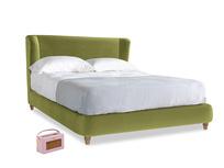 Kingsize Hugger Bed in Olive plush velvet