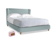 Kingsize Hugger Bed in Smoke blue brushed cotton