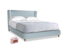 Kingsize Hugger Bed in Soothing blue washed cotton linen
