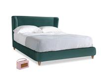 Kingsize Hugger Bed in Timeless teal vintage velvet