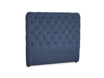 Double Tall Billow Headboard in Navy blue brushed cotton