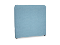 Double Ruffle Headboard in Moroccan blue clever woolly fabric