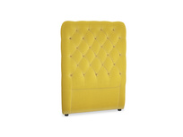 Single Tall Billow Headboard in Bumblebee clever velvet