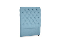 Single Tall Billow Headboard in Moroccan blue clever woolly fabric