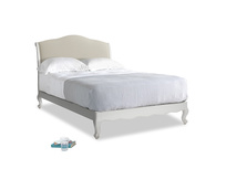 Double Coco Bed in Scuffed Grey in Pale rope clever linen