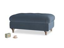 Rectangle Jammy Dodger Footstool in Liquorice Blue clever velvet