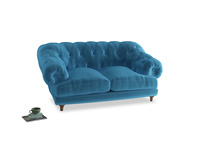 Small Bagsie Sofa in Teal Blue plush velvet
