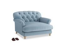 Truffle Love seat in Chalky blue vintage velvet