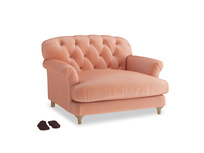 Truffle Love seat in Old rose vintage velvet
