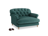 Truffle Love seat in Timeless teal vintage velvet