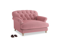 Truffle Love seat in Dusty Rose clever velvet