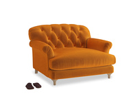 Truffle Love seat in Spiced Orange clever velvet