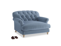 Truffle Love seat in Winter Sky clever velvet
