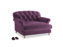Truffle Love seat in Grape clever velvet