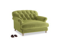 Truffle Love seat in Olive plush velvet