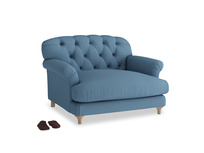 Truffle Love seat in Easy blue clever linen