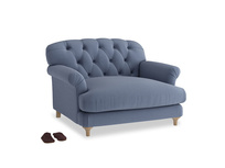 Truffle Love seat in Breton blue clever cotton