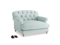 Truffle Love seat in Gull's Egg Brushed Cotton