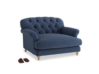 Truffle Love seat in Navy blue brushed cotton