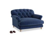 Truffle Love seat in Ink Blue wool