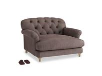 Truffle Love seat in Dark Chocolate beaten leather