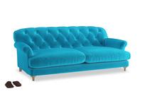 Large Truffle Sofa in Azure plush velvet