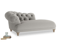Left Hand Fats Chaise Longue in Wolf brushed cotton