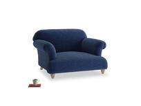 Soufflé Love seat in Ink Blue wool