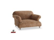 Soufflé Love seat in Walnut beaten leather