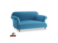Small Soufflé Sofa in Teal Blue plush velvet