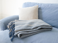 Ripple blue and cream stripe throw