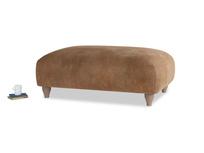 Soufflé Footstool in Walnut beaten leather