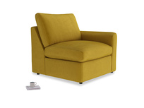 Chatnap Storage Single Seat in Burnt yellow vintage velvet with a right arm