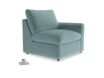 Chatnap Storage Single Seat in Lagoon clever velvet with a right arm